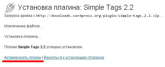 Активировать Simple Tags